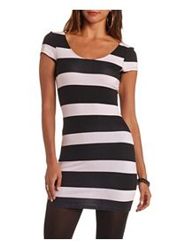 Cap Sleeve Striped Open Back Bodycon Dress