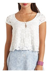 Cap Sleeve Swing Lace Crop Top