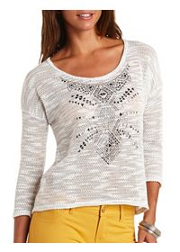 Tribal Studded Sheer Slub Knit Top
