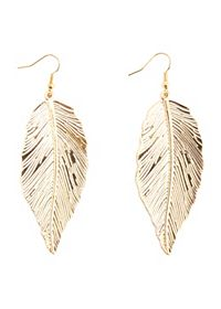 Dangling Etched Feather Earrings
