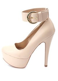 Gold-Buckled Ankle Strap Platform Pumps