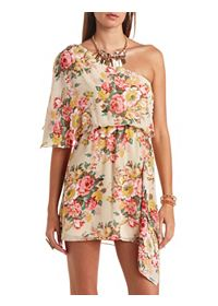 Floral Chiffon One Shoulder Asymmetrical Dress