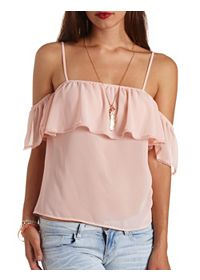 Lace-Trimmed Flounce Cold Shoulder Top