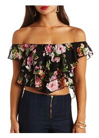 Floral Print Chiffon Off-the-Shoulder Crop Top