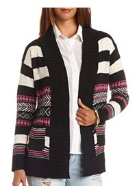 Striped Geo-Aztec Cardigan Sweater