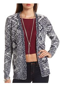 Diamond Pattern Slub Stitch Open Cardigan