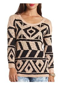 Oversized Aztec Tunic Sweater