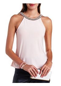 Beaded Racer Front Halter Top
