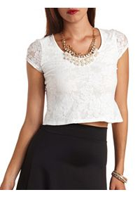 Cap Sleeve Sheer-Back Lace Crop Top