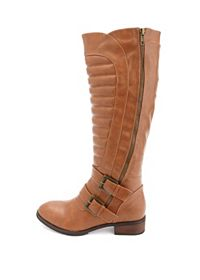Quilted Zip-Up Double-Belted Riding Boots