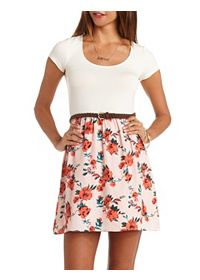 Floral Color Block Belted Skater Dress