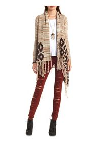 Aztec-Trimmed Fringe Cascade Cardigan Sweater