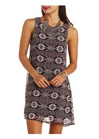 Ruffle-Back Cut-Out Aztec Print Shift Dress