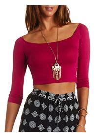 Boat Neck Cotton Crop Top