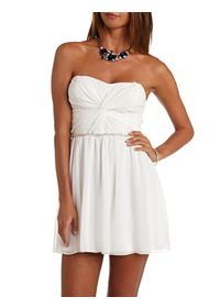Rhinestone-Belted Ruched Strapless Skater Dress