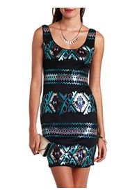 Sequin Tribal Sleeveless Bodycon Dress