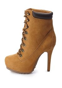 Lace-Up High Heel Work Booties