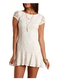 Fluted Crocheted Lace Dress
