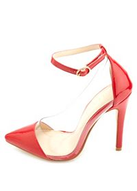 Ankle Strap Lucite Pointed Cap-Toe Pumps