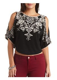 Pom-Pom Trimmed Floral Cold Shoulder Crop Top