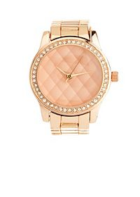 Quilted Rhinestone Rose Gold Watch