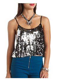 Sequin Embellished Swing Crop Top