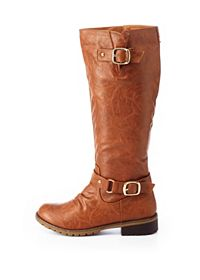 Distressed Lug Sole Belted Riding Boots