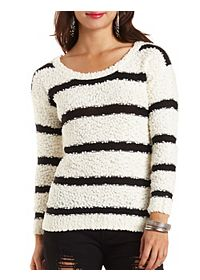 Fuzzy Textured Stripe Sweater