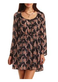 Lace Inset Paisley Print Chiffon Dress