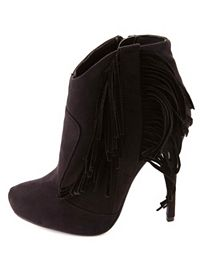 High Heel Fringe Booties