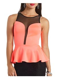 Mesh Yoke Plunging Sweetheart Peplum Top