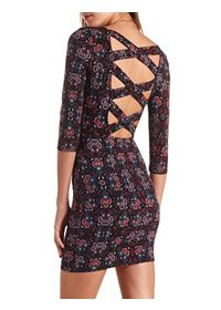 Cross-Back Boho Print Bodycon Dress