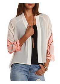 Embroidered Sleeve Sheer High-Low Kimono Top