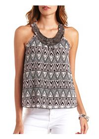 Beaded Bib Tribal Print Chiffon Tank Top