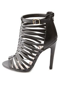 Strappy Caged Single Sole Heels