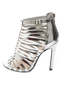 Caged Metallic Single Sole Heels