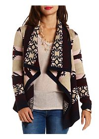 Aztec-Striped Cascade Cardigan Sweater