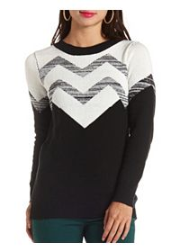 Sparkly Chevron Color Block Tunic Sweater