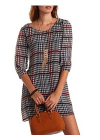 Strappy Back Houndstooth Chiffon Shift Dress