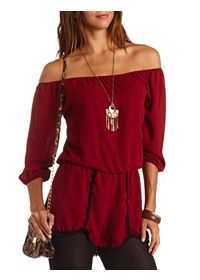 Crochet Trim Off-the-Shoulder Chiffon Romper