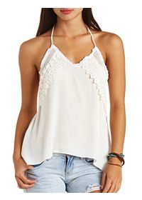 Crocheted Lace-Trim High-Low Halter Top