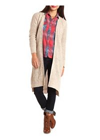 Marled Open Knit Duster Cardigan Sweater
