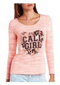 Bow-Back Cali Girl Graphic Long Sleeve Top