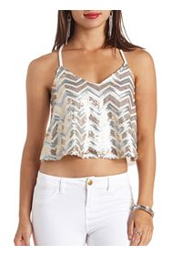 Sequin Chevron Swing Crop Top