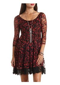 Long Sleeve Floral Print Babydoll Lace Dress