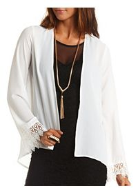 Lace-Cuff Long Sleeved Kimono Top