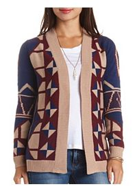 Open Front Geo Cardigan Sweater