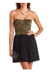 Metallic Color Block Strapless Bandage Dress