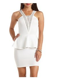 Rhinestone Embellished Bodycon Peplum Dress