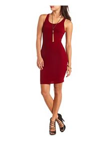 Textured Cut-Out Racerback Bodycon Dress